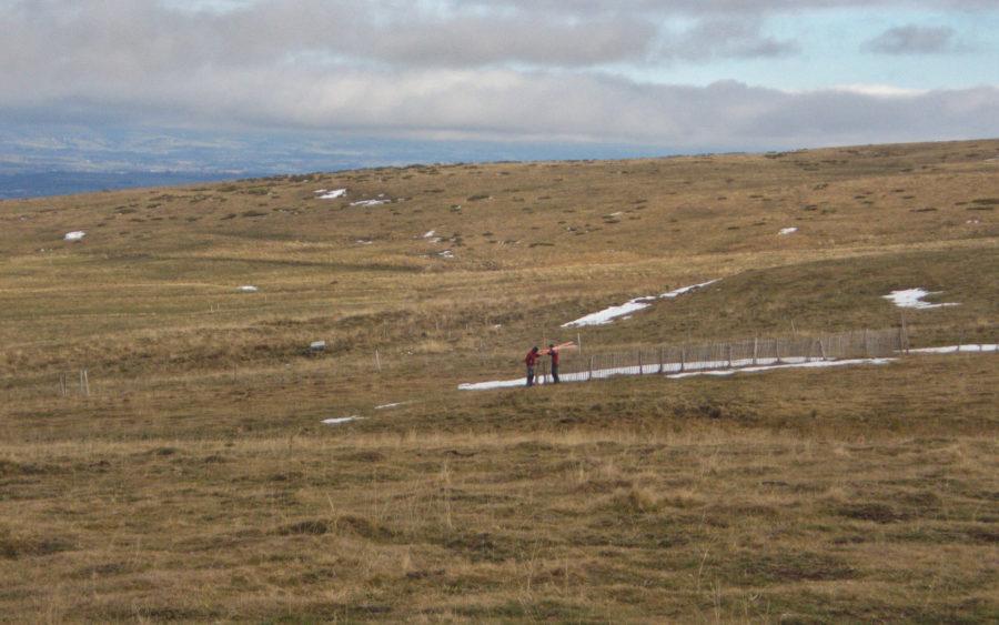 Fred et Alban préparent les pistes